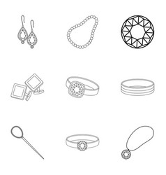 Jewelry and accessories set icons in outline style vector