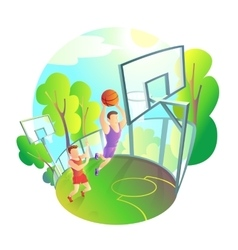 Man in sportswear playing basketball on outdoor vector