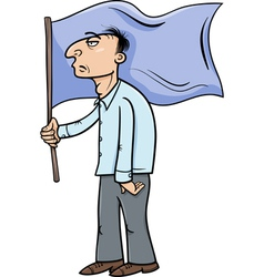 man with flag cartoon vector image vector image