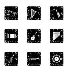 Musical tools icons set grunge style vector