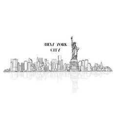 new york usa skyline city silhouette with liberty vector image vector image