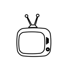 Old television with antenna icon vector