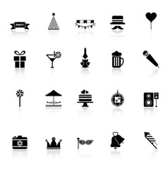 Party time icons with reflect on white background vector