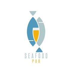 seafood pub with beer and fish vector image vector image