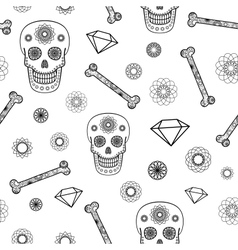 Seamless Pattern with Skull vector image