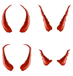 set of red horns vector image vector image