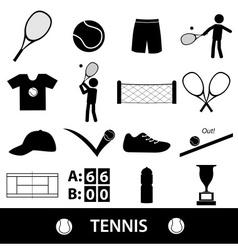 Tennis sport theme black icons set eps10 vector