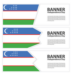 Uzbekistan flag banners collection independence vector