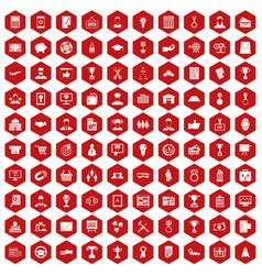 100 business career icons hexagon red vector