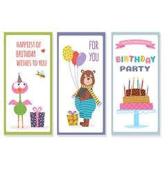 Set of birthday greeting cards with cute animals vector