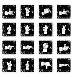 Hand gesture set icons grunge style vector