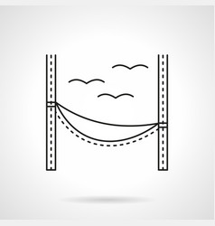 Beach hammock flat line icon vector