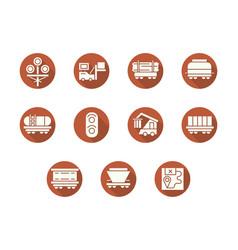 Railroad transportation round flat icons vector