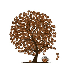 Coffee time art tree for your design vector