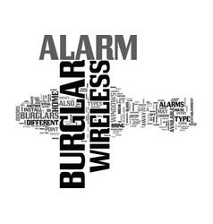 Wireless burglar alarm text word cloud concept vector
