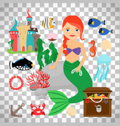 Cute mermaid with marine life vector