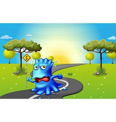 A monster running at the road vector image