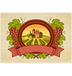 Grapes harvest label vector image