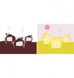 Three cottage day and night vector