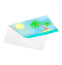 Postcard with sea views in an envelope vector