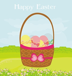 Happy easter border on rural landscape vector