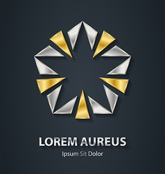 Gold and silver star logo award 3d icon metallic vector