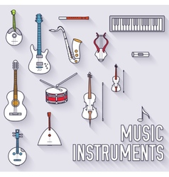 Thin lines outline music instruments icons vector