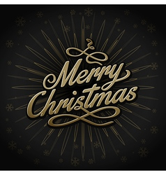 Gold retro christmas sign on black background vector