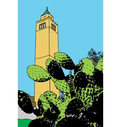 A minaret rises majestically in a suburb of tunis vector