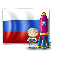 A Russian flag at the back of the rocket and the vector image vector image