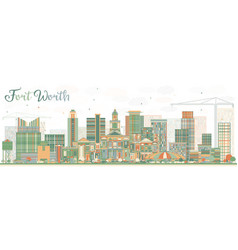 abstract fort worth skyline with color buildings vector image