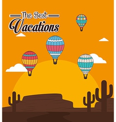 Air balloon over sunshine background vector