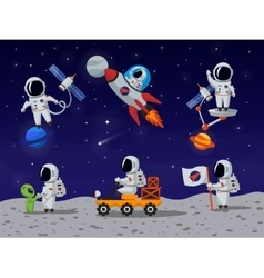 Astronauts characters set in flat cartoon vector image