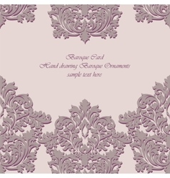 Baroque vintage floral damask card vector