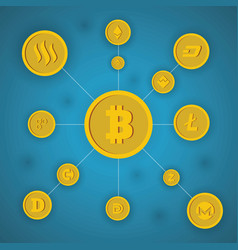Bitcoin concept on blue background vector