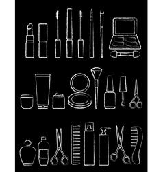 Chalk beauty icon set vector
