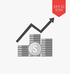 Coins with arrow icon Income growth concept Flat vector image