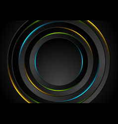 colorful glow neon circles abstract background vector image vector image