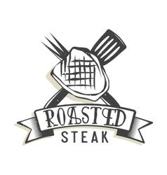 Creative logo design with steak vector image vector image
