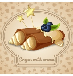 Crepes with cream emblem vector