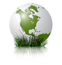 earth globe and grass vector image vector image