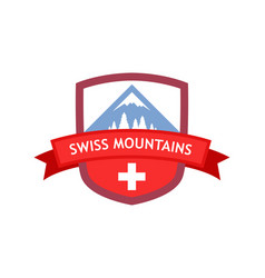 Emblem of swiss mountains vector