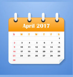 European calendar for april 2017 vector