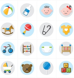 Flat icons for baby icons and toys icons vector