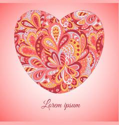 Floral doodle ethnic pattern heart frame rosy for vector