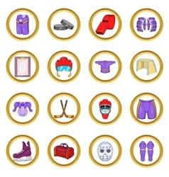 Hockey icons set cartoon style vector