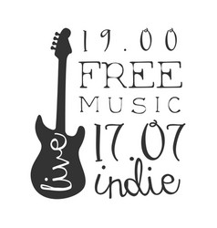 Indie free live music concert black and white vector
