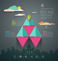 Info graphic business triangle rockets plan vector image vector image