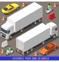 Isometric Flat 3d Vehicle Vespa Truck Set vector image