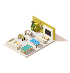 Isometric low poly recreation room interior vector